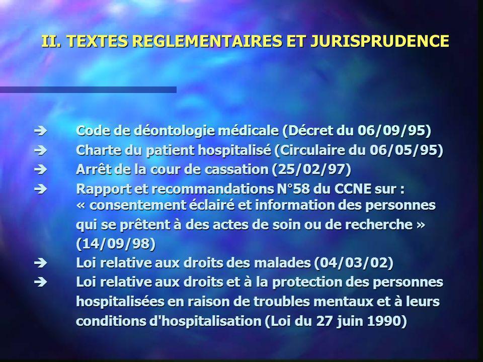 II. TEXTES REGLEMENTAIRES ET JURISPRUDENCE Code de déontologie médicale (Décret du 06/09/95) Code de déontologie médicale (Décret du 06/09/95) Charte