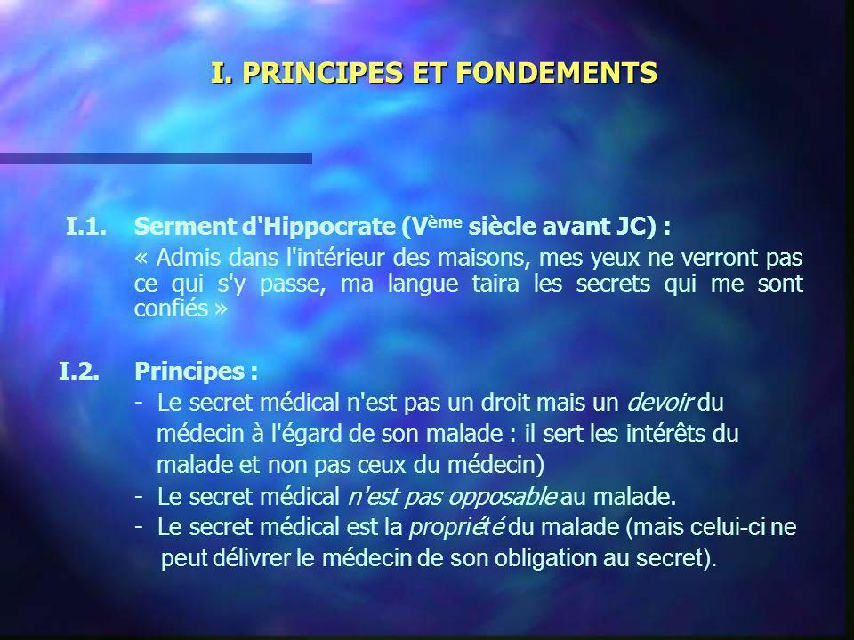 I. PRINCIPES ET FONDEMENTS I.1.Serment d'Hippocrate (V ème siècle avant JC) : « Admis dans l'intérieur des maisons, mes yeux ne verront pas ce qui s'y