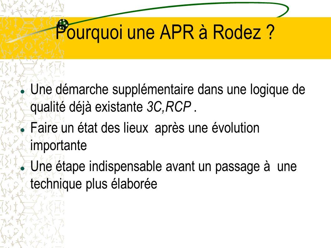 Pourquoi une APR à Rodez ? Une démarche supplémentaire dans une logique de qualité déjà existante 3C,RCP. Faire un état des lieux après une évolution