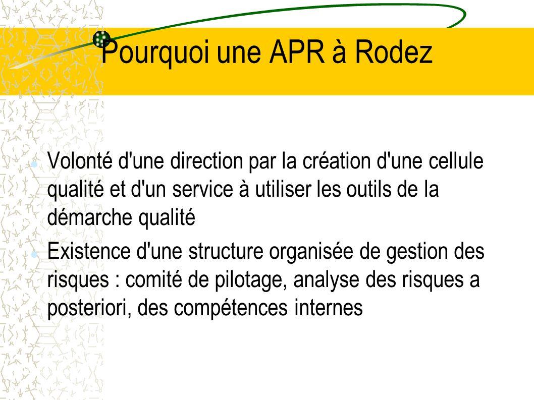 Pourquoi une APR à Rodez Volonté d'une direction par la création d'une cellule qualité et d'un service à utiliser les outils de la démarche qualité Ex