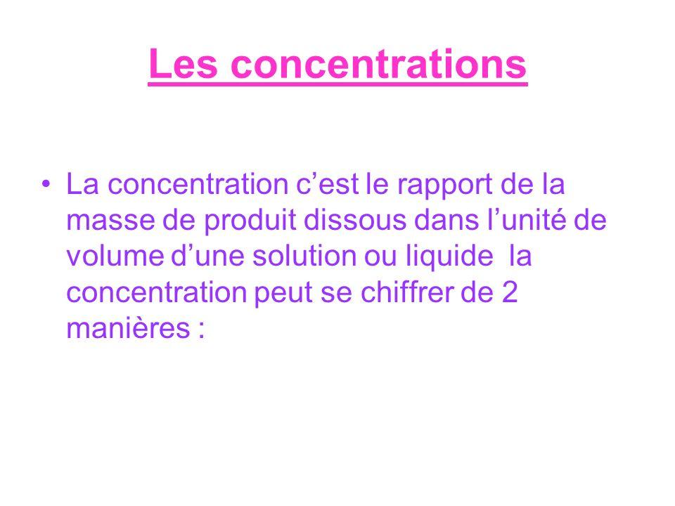 Les concentrations La concentration cest le rapport de la masse de produit dissous dans lunité de volume dune solution ou liquide la concentration peu