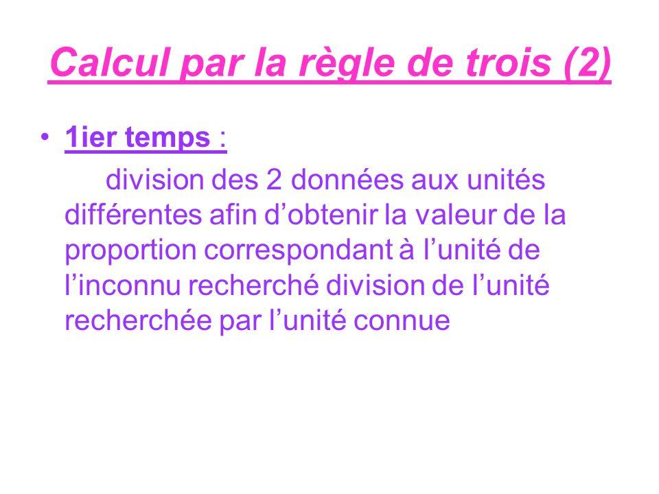 Calcul par la règle de trois (2) 1ier temps : division des 2 données aux unités différentes afin dobtenir la valeur de la proportion correspondant à l