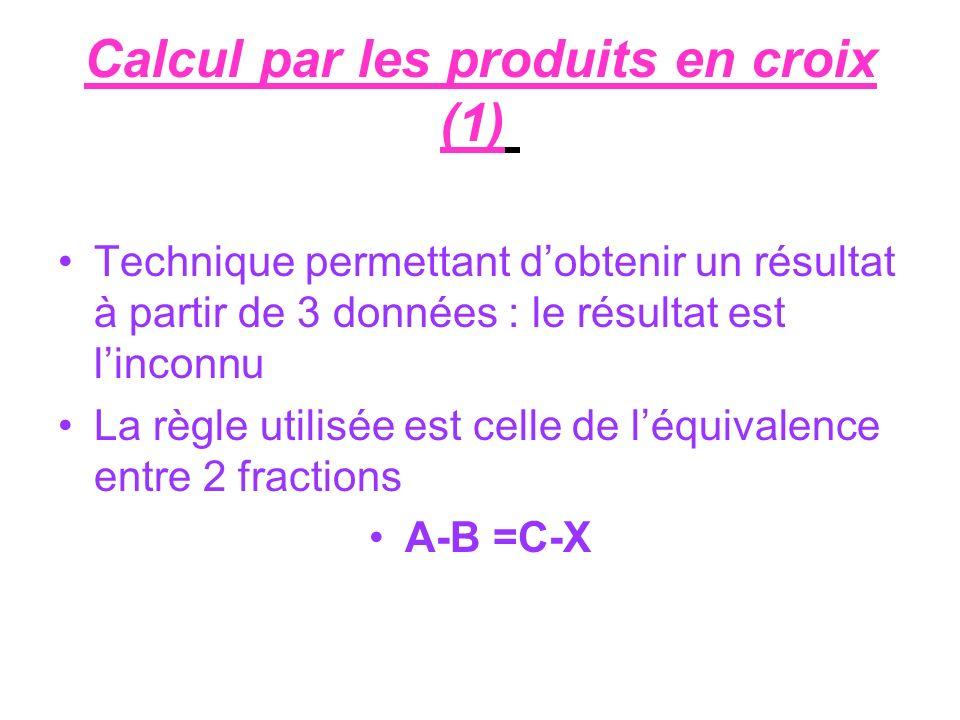 Calcul par les produits en croix (1) Technique permettant dobtenir un résultat à partir de 3 données : le résultat est linconnu La règle utilisée est