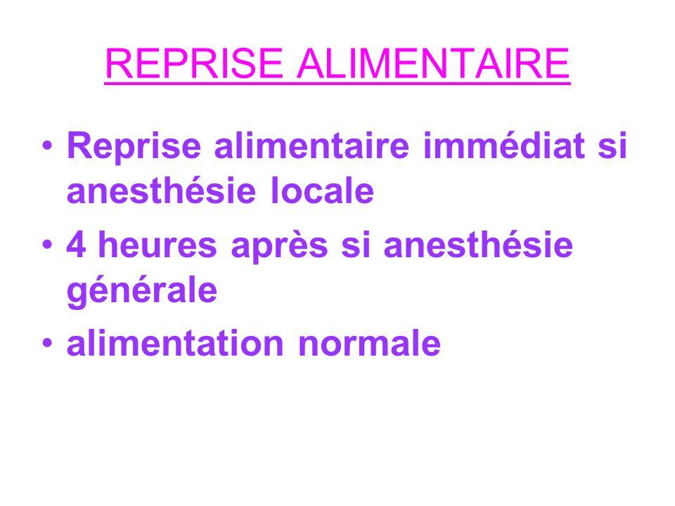 REPRISE ALIMENTAIRE Reprise alimentaire immédiat si anesthésie locale 4 heures après si anesthésie générale alimentation normale