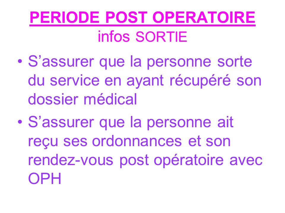 PERIODE POST OPERATOIRE infos SORTIE Sassurer que la personne sorte du service en ayant récupéré son dossier médical Sassurer que la personne ait reçu