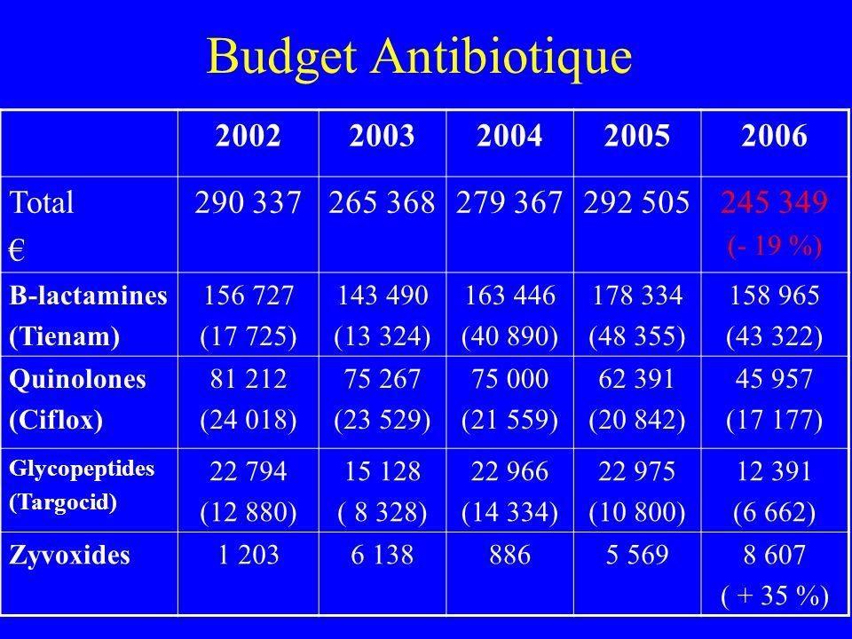 Budget Antibiotique 20022003200420052006 Total 290 337265 368279 367292 505245 349 (- 19 %) Β-lactamines (Tienam) 156 727 (17 725) 143 490 (13 324) 16
