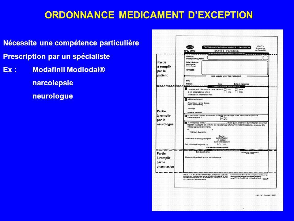 ORDONNANCE MEDICAMENT DEXCEPTION Nécessite une compétence particulière Prescription par un spécialiste Ex : Modafinil Modiodal® narcolepsie neurologue