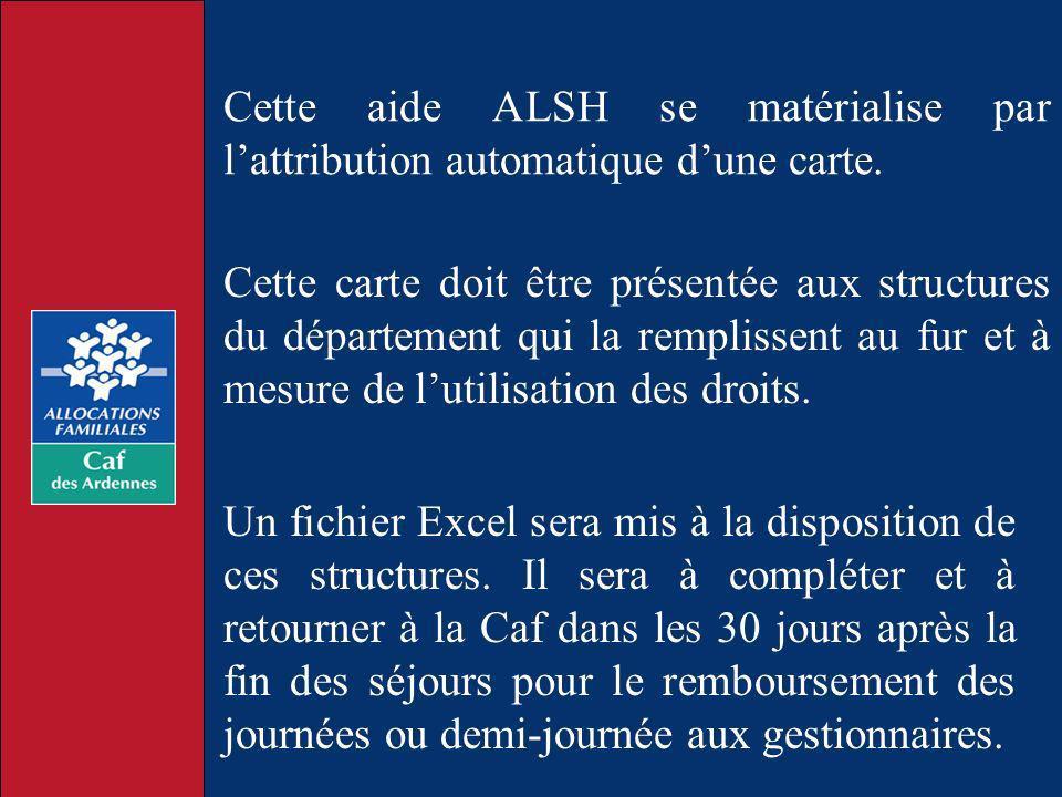 Cette aide ALSH se matérialise par lattribution automatique dune carte. Cette carte doit être présentée aux structures du département qui la remplisse