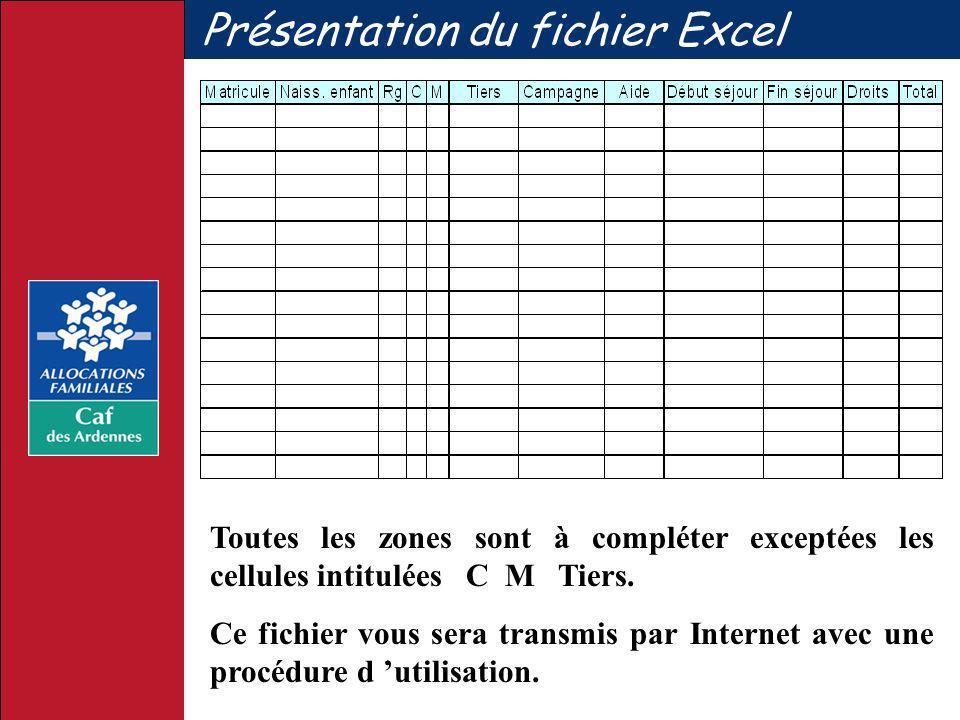 Présentation du fichier Excel Toutes les zones sont à compléter exceptées les cellules intitulées C M Tiers. Ce fichier vous sera transmis par Interne
