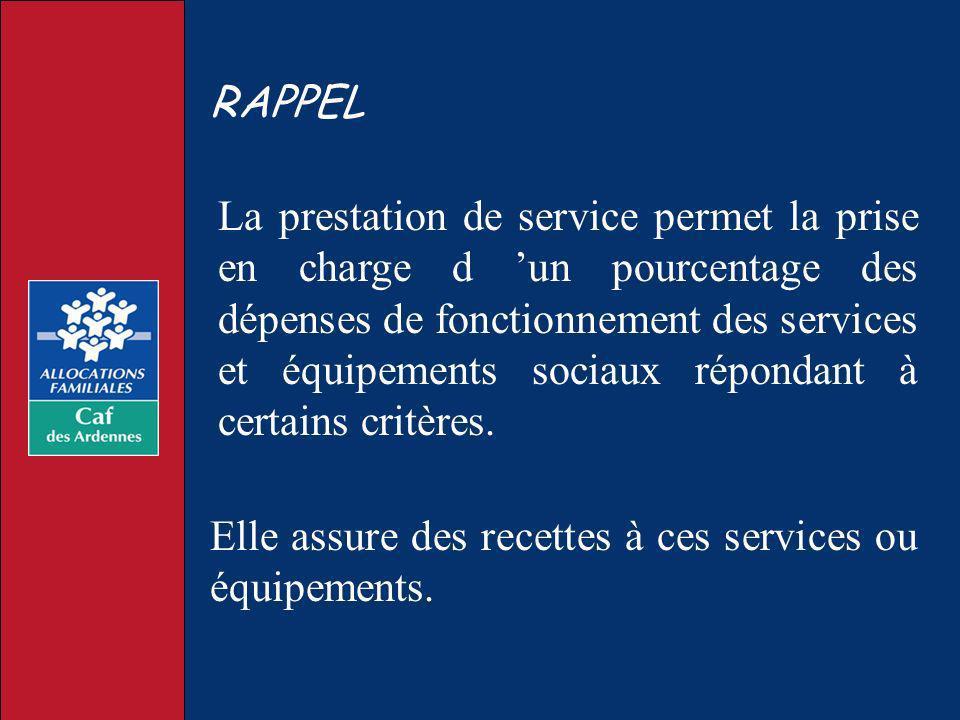 La prestation de service permet la prise en charge d un pourcentage des dépenses de fonctionnement des services et équipements sociaux répondant à cer