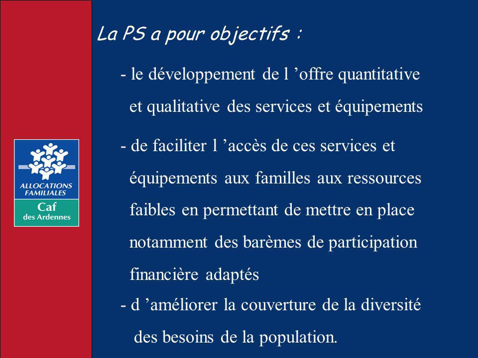 La PS a pour objectifs : - le développement de l offre quantitative et qualitative des services et équipements - de faciliter l accès de ces services
