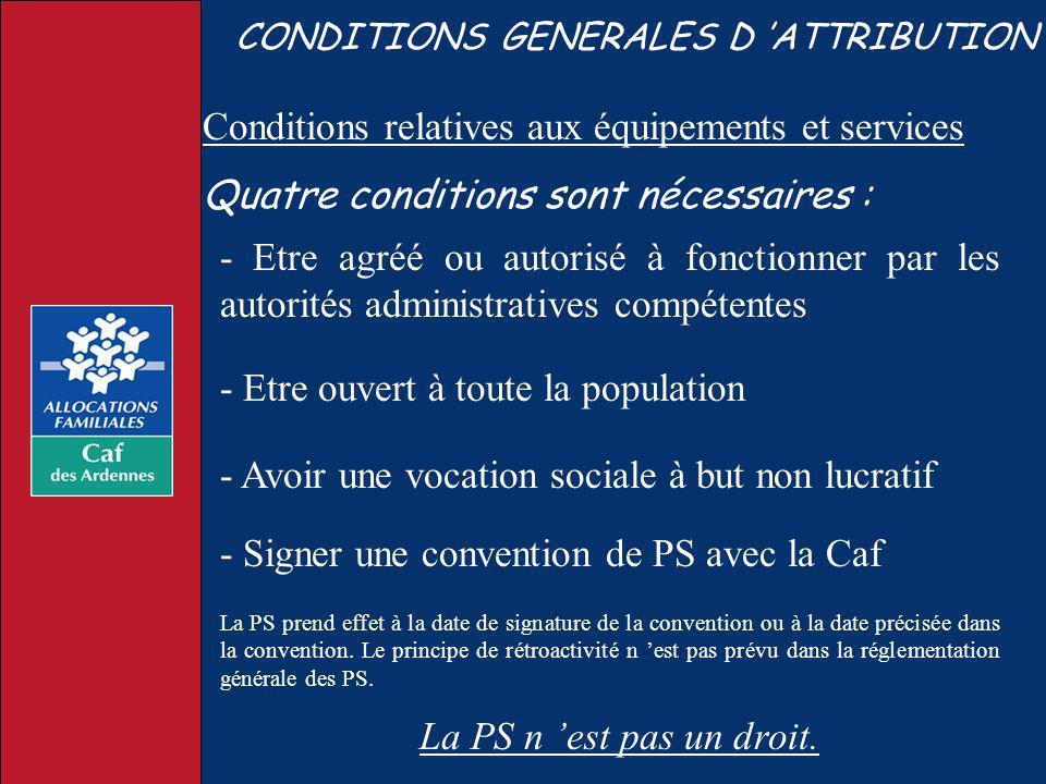 CONDITIONS GENERALES D ATTRIBUTION - Etre agréé ou autorisé à fonctionner par les autorités administratives compétentes La PS n est pas un droit. - Et
