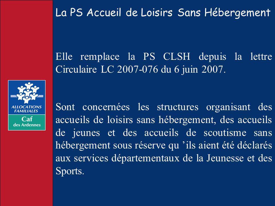 La PS Accueil de Loisirs Sans Hébergement Sont concernées les structures organisant des accueils de loisirs sans hébergement, des accueils de jeunes e