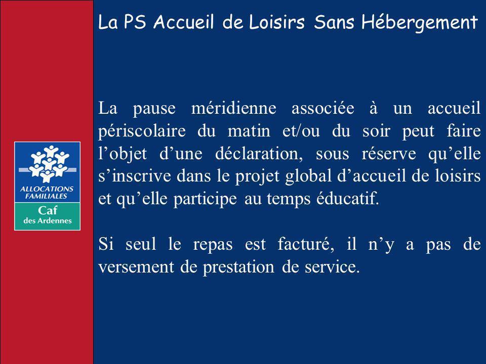 La PS Accueil de Loisirs Sans Hébergement La pause méridienne associée à un accueil périscolaire du matin et/ou du soir peut faire lobjet dune déclara