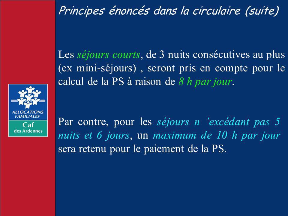 Principes énoncés dans la circulaire (suite) Les séjours courts, de 3 nuits consécutives au plus (ex mini-séjours), seront pris en compte pour le calc