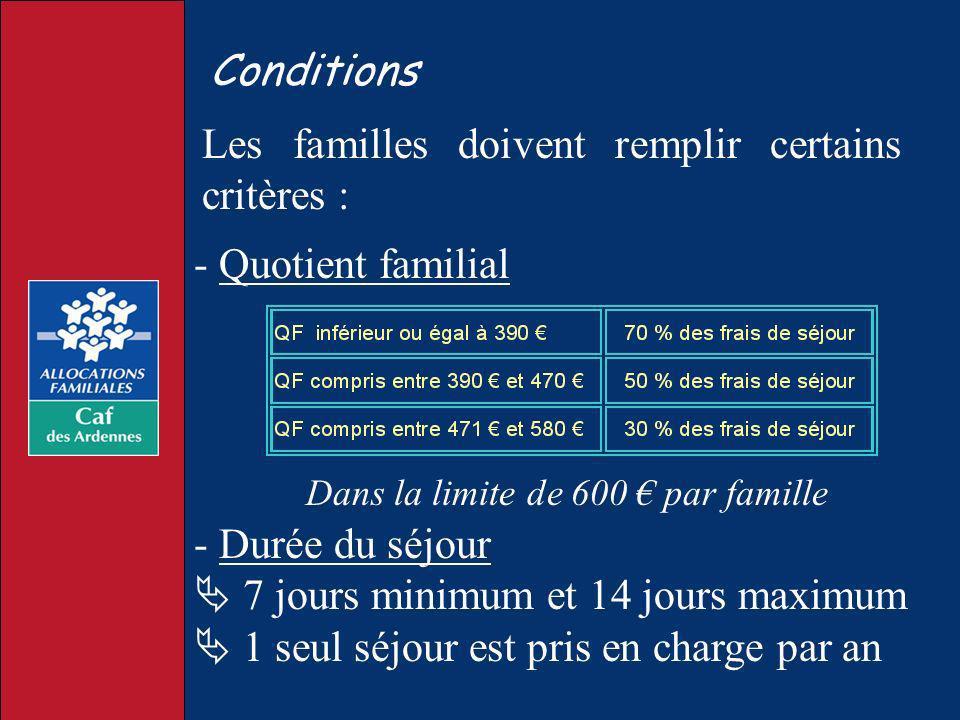 Conditions Les familles doivent remplir certains critères : - Quotient familial Dans la limite de 600 par famille - Durée du séjour 7 jours minimum et