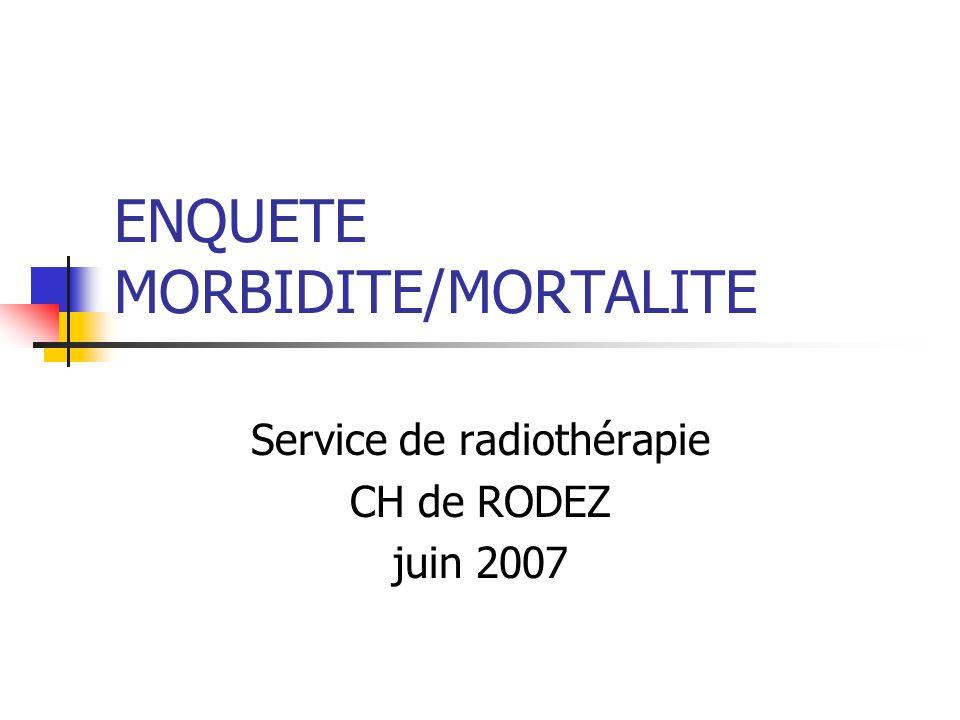 ENQUETE MORBIDITE/MORTALITE Service de radiothérapie CH de RODEZ juin 2007