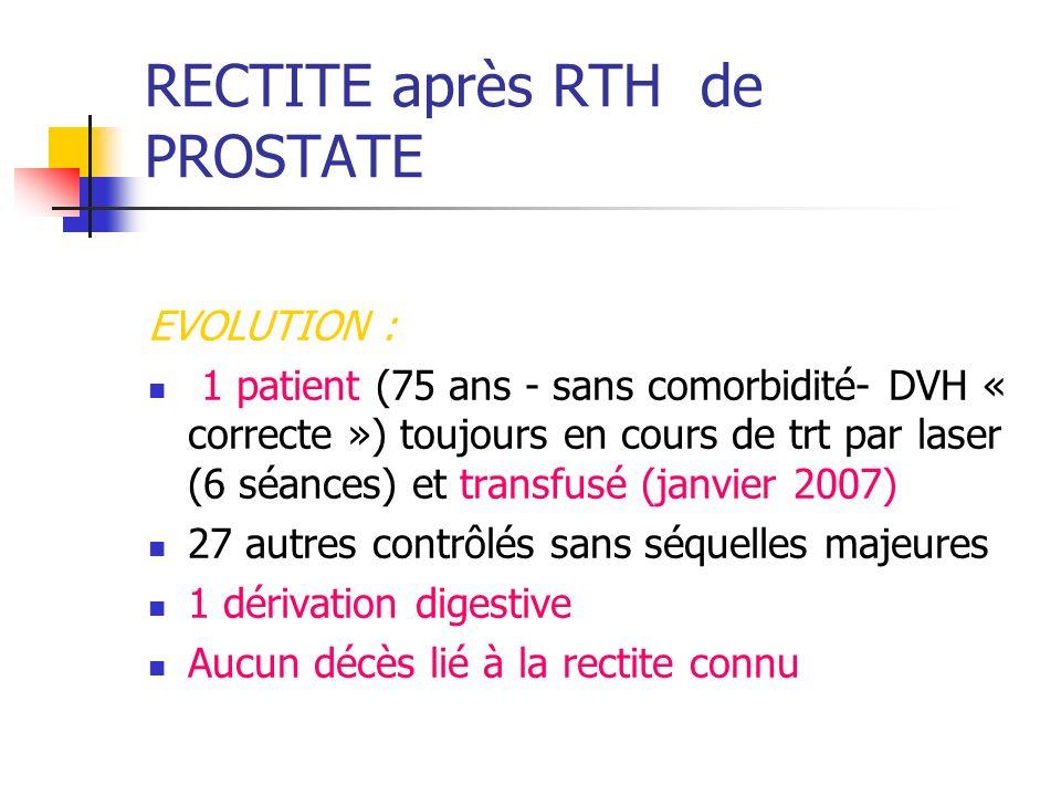 RECTITE après RTH de PROSTATE EVOLUTION : 1 patient (75 ans - sans comorbidité- DVH « correcte ») toujours en cours de trt par laser (6 séances) et tr