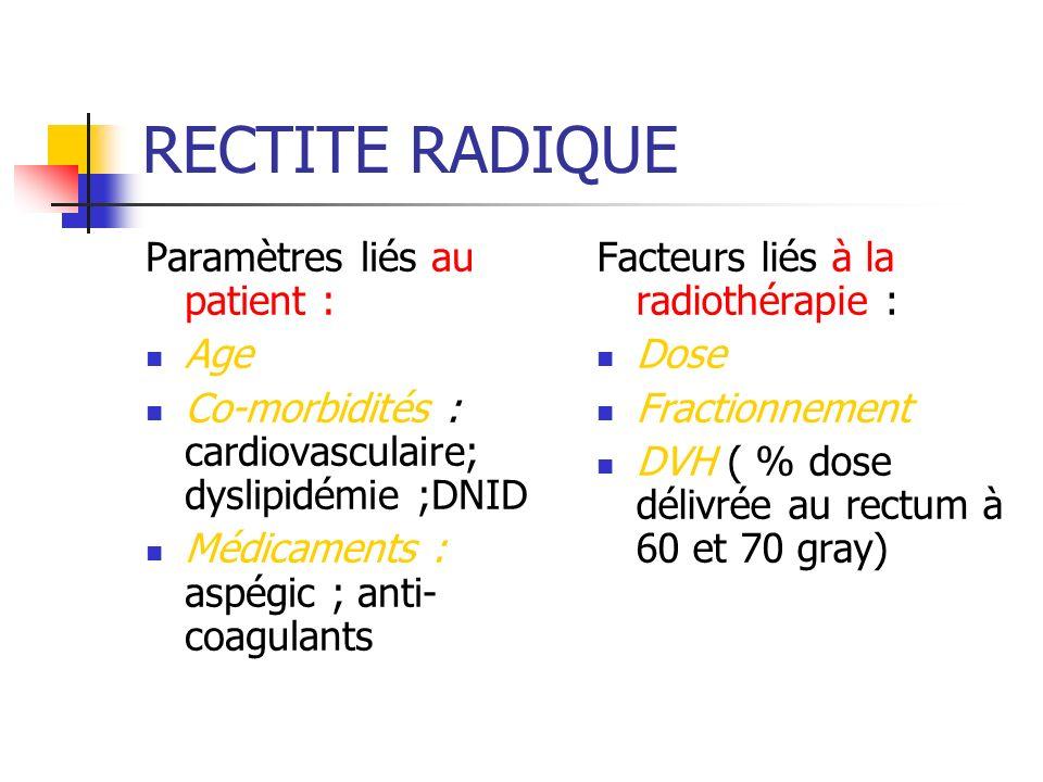 RECTITE RADIQUE Paramètres liés au patient : Age Co-morbidités : cardiovasculaire; dyslipidémie ;DNID Médicaments : aspégic ; anti- coagulants Facteur