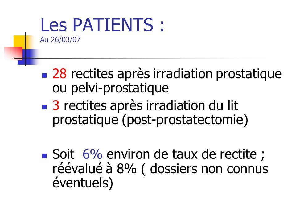 Les PATIENTS : Au 26/03/07 28 rectites après irradiation prostatique ou pelvi-prostatique 3 rectites après irradiation du lit prostatique (post-prosta