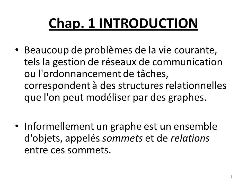 Chap. 1 INTRODUCTION Beaucoup de problèmes de la vie courante, tels la gestion de réseaux de communication ou l'ordonnancement de tâches, corresponden