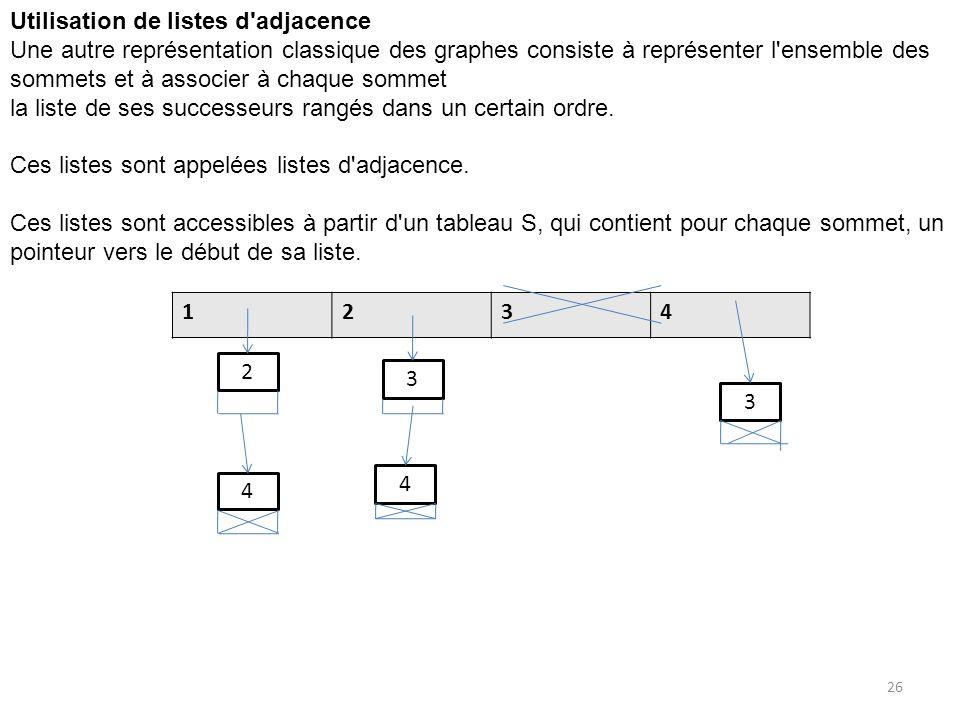 Utilisation de listes d'adjacence Une autre représentation classique des graphes consiste à représenter l'ensemble des sommets et à associer à chaque