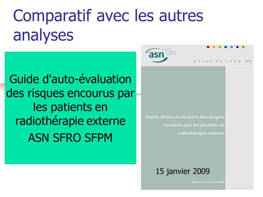 Comparatif avec les autres analyses Guide d'auto-évaluation des risques encourus par les patients en radiothérapie externe ASN SFRO SFPM 15 janvier 20