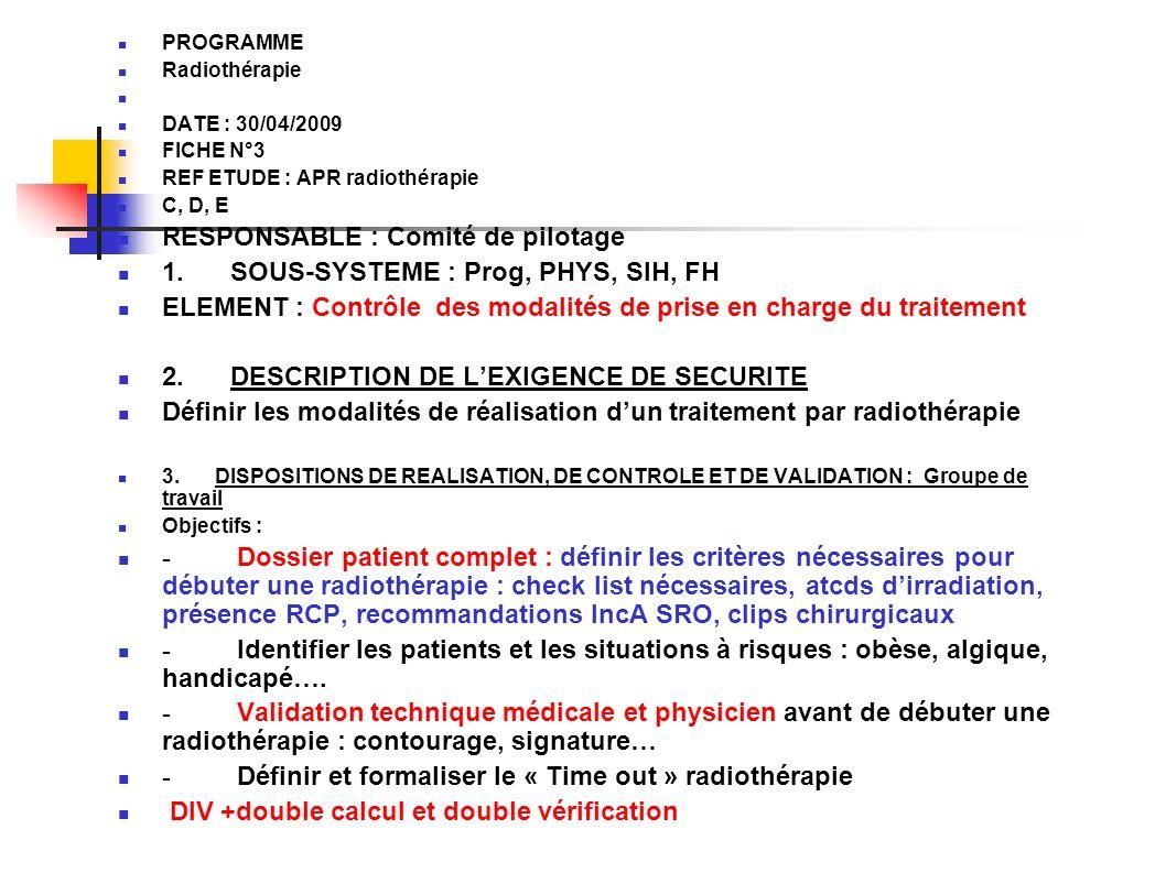 PROGRAMME Radiothérapie DATE : 30/04/2009 FICHE N°3 REF ETUDE : APR radiothérapie C, D, E RESPONSABLE : Comité de pilotage 1. SOUS-SYSTEME : Prog, PHY