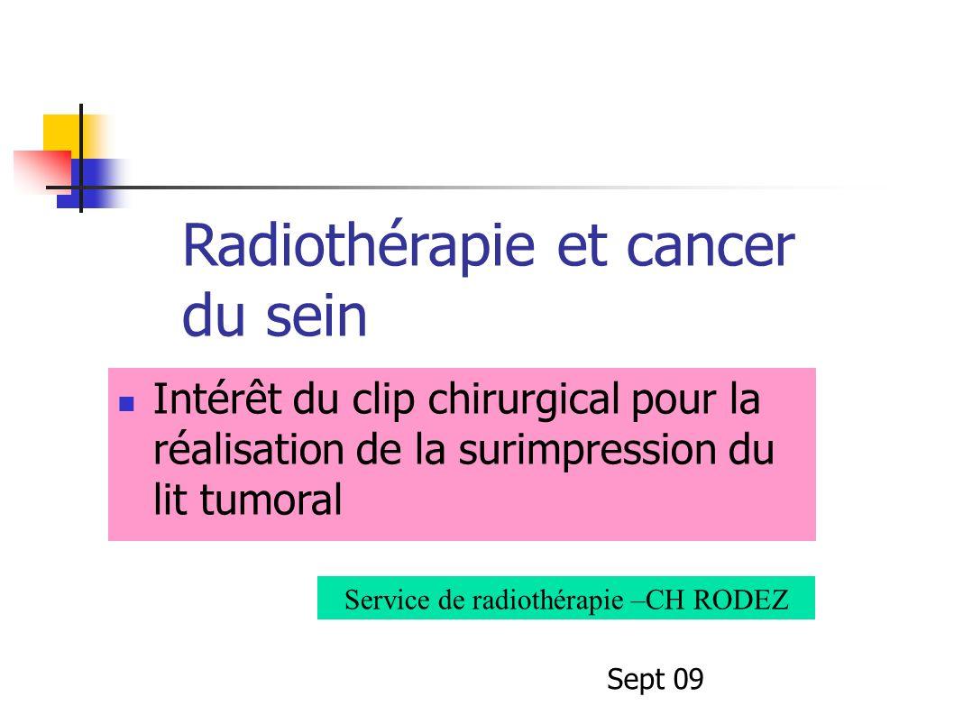 Radiothérapie et cancer du sein Intérêt du clip chirurgical pour la réalisation de la surimpression du lit tumoral Service de radiothérapie –CH RODEZ