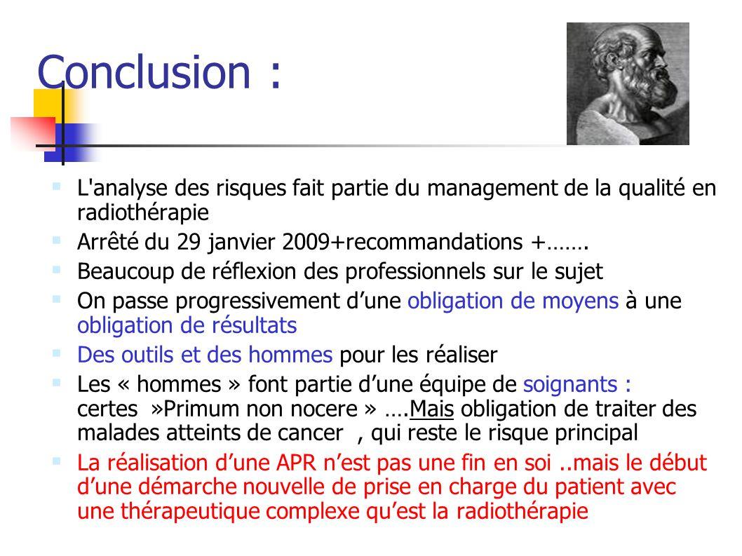 Conclusion : L'analyse des risques fait partie du management de la qualité en radiothérapie Arrêté du 29 janvier 2009+recommandations +……. Beaucoup de
