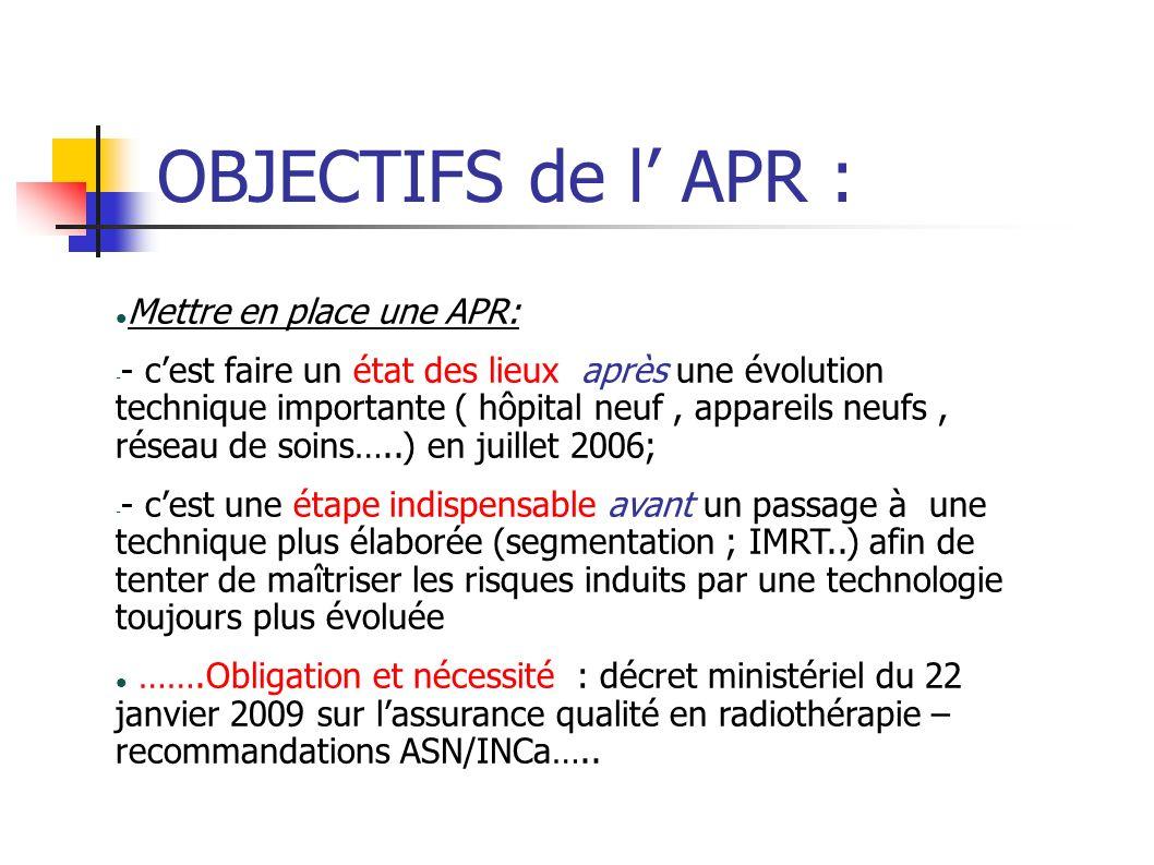 OBJECTIFS de l APR : Mettre en place une APR: - - cest faire un état des lieux après une évolution technique importante ( hôpital neuf, appareils neuf
