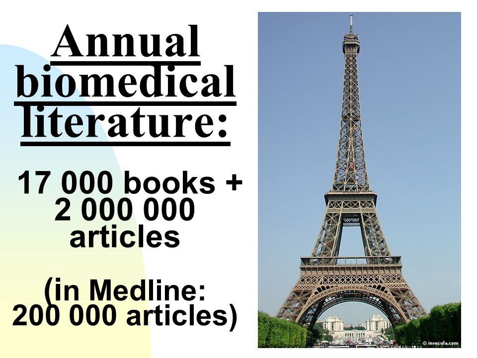 Annual biomedical literature: 17 000 books + 2 000 000 articles (i n Medline: 200 000 articles)