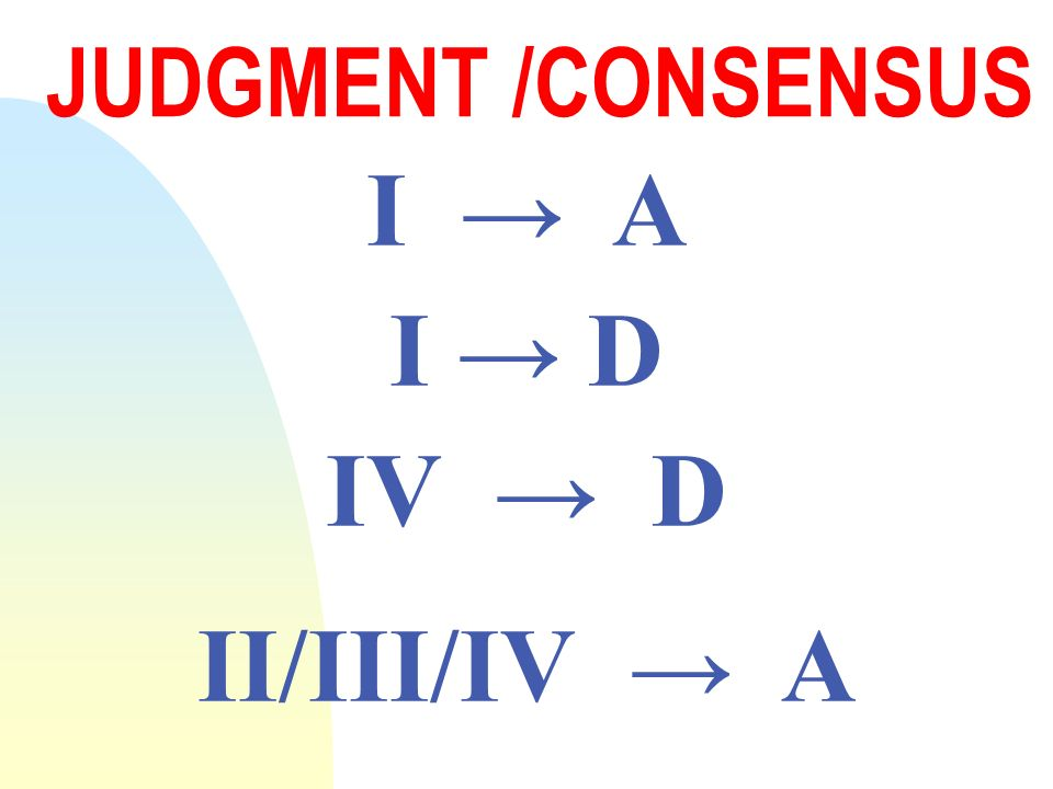 JUDGMENT /CONSENSUS I A I D IV D II/III/IV A