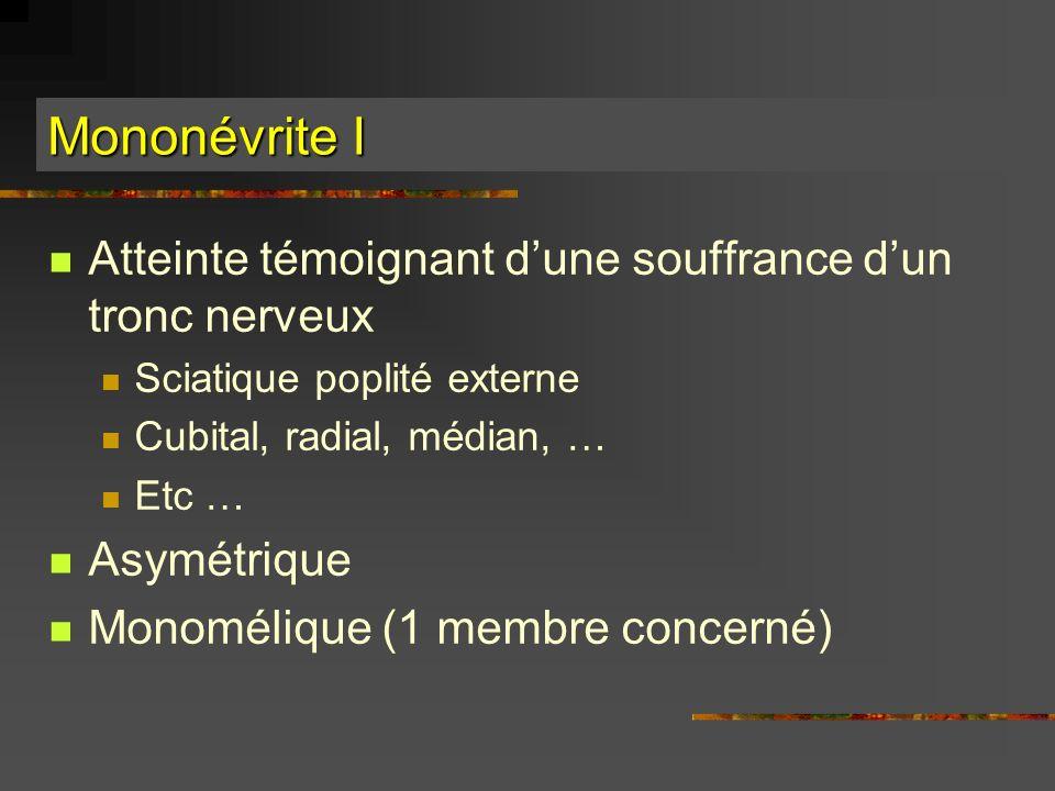 Mononévrite I Atteinte témoignant dune souffrance dun tronc nerveux Sciatique poplité externe Cubital, radial, médian, … Etc … Asymétrique Monomélique