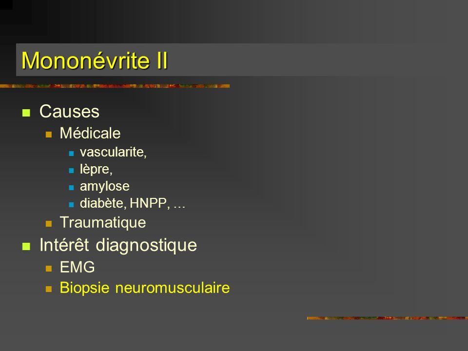 Mononévrite II Causes Médicale vascularite, lèpre, amylose diabète, HNPP, … Traumatique Intérêt diagnostique EMG Biopsie neuromusculaire