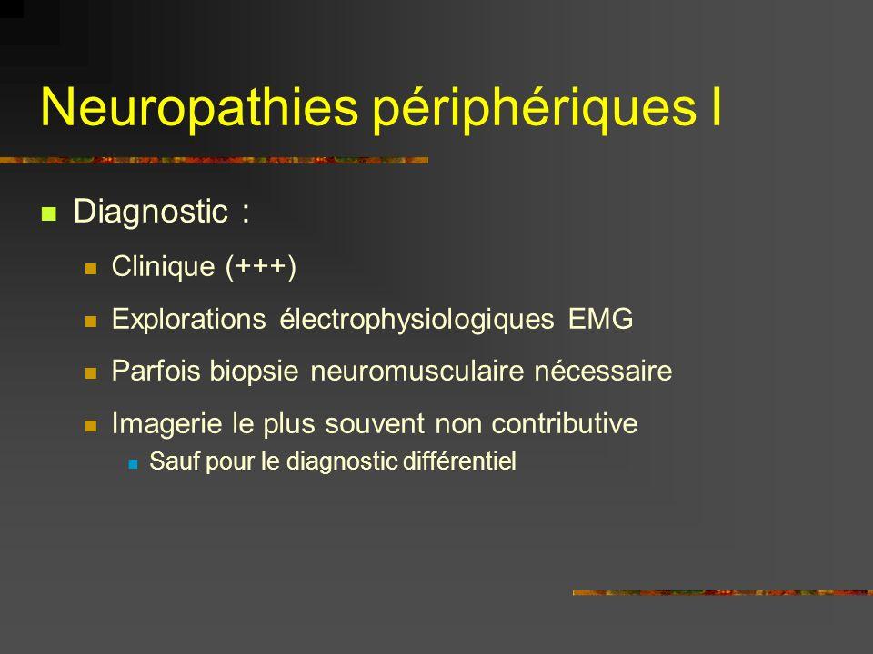 Neuropathies périphériques I Diagnostic : Clinique (+++) Explorations électrophysiologiques EMG Parfois biopsie neuromusculaire nécessaire Imagerie le