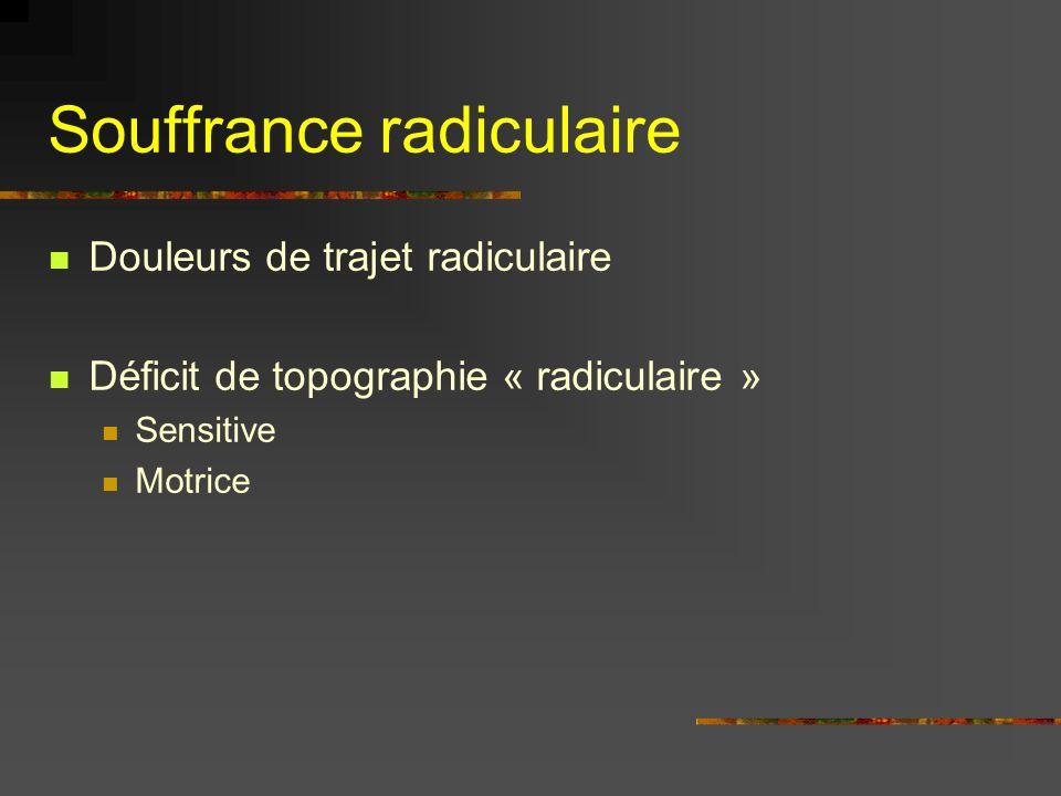 Souffrance radiculaire Douleurs de trajet radiculaire Déficit de topographie « radiculaire » Sensitive Motrice