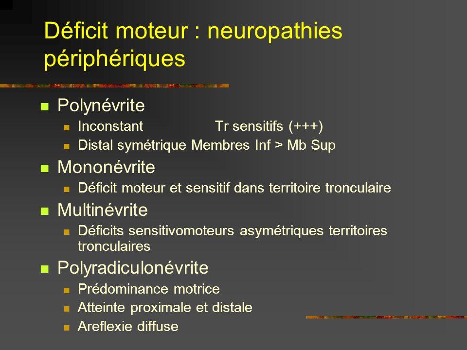 Déficit moteur : neuropathies périphériques Polynévrite Inconstant Tr sensitifs (+++) Distal symétrique Membres Inf > Mb Sup Mononévrite Déficit moteu