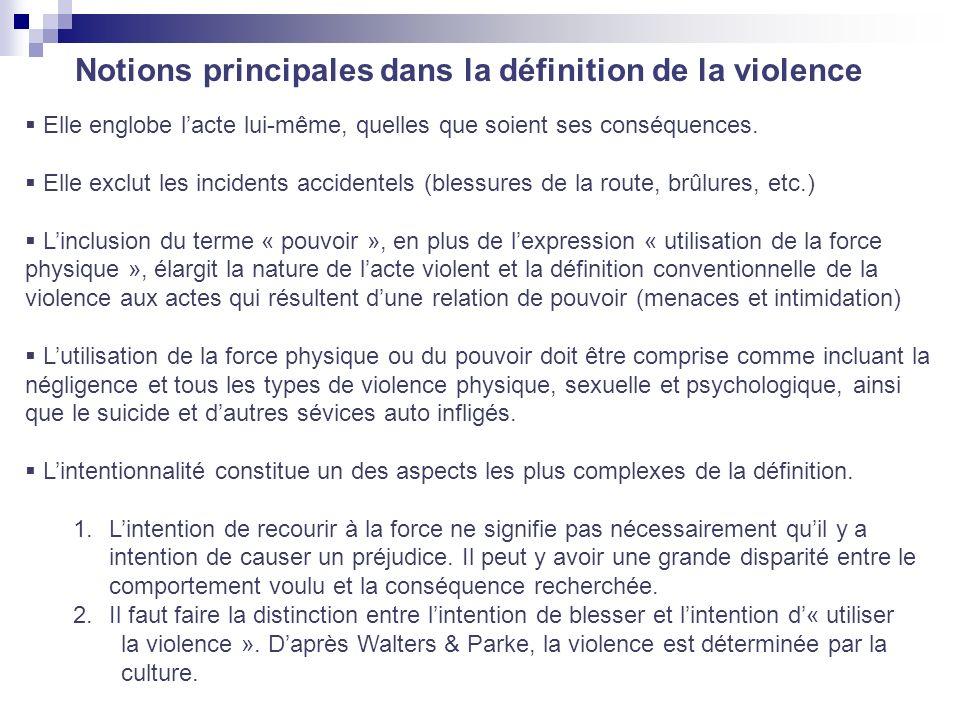 Notions principales dans la définition de la violence Elle englobe lacte lui-même, quelles que soient ses conséquences. Elle exclut les incidents acci