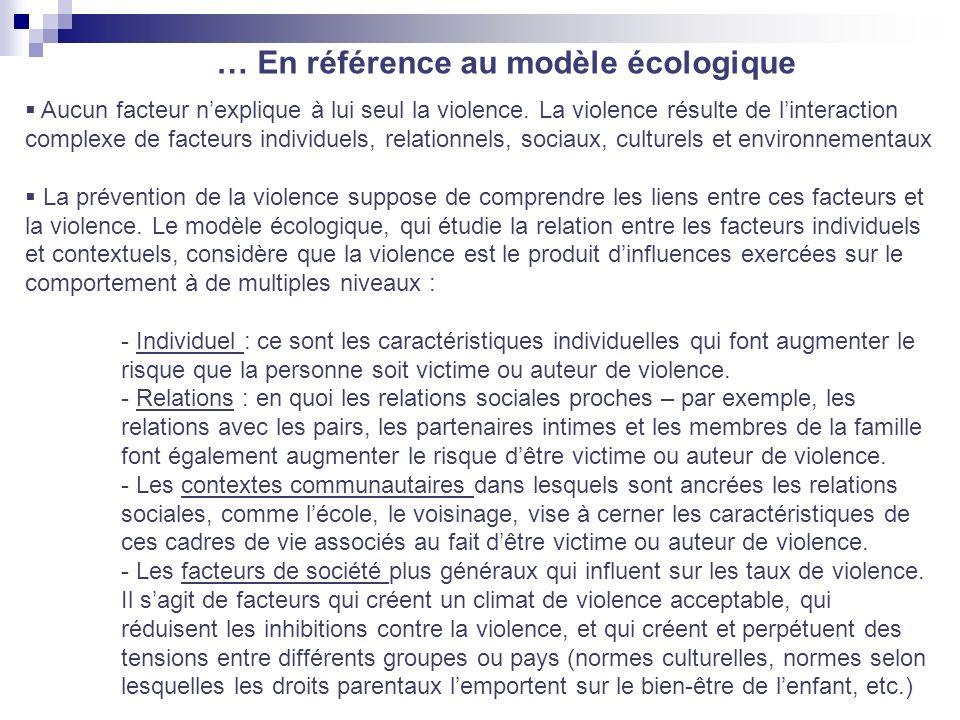 … En référence au modèle écologique Aucun facteur nexplique à lui seul la violence. La violence résulte de linteraction complexe de facteurs individue