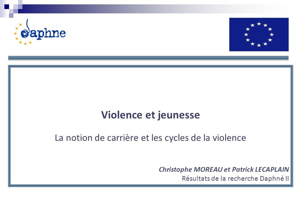 Violence et jeunesse La notion de carrière et les cycles de la violence Christophe MOREAU et Patrick LECAPLAIN Résultats de la recherche Daphné II