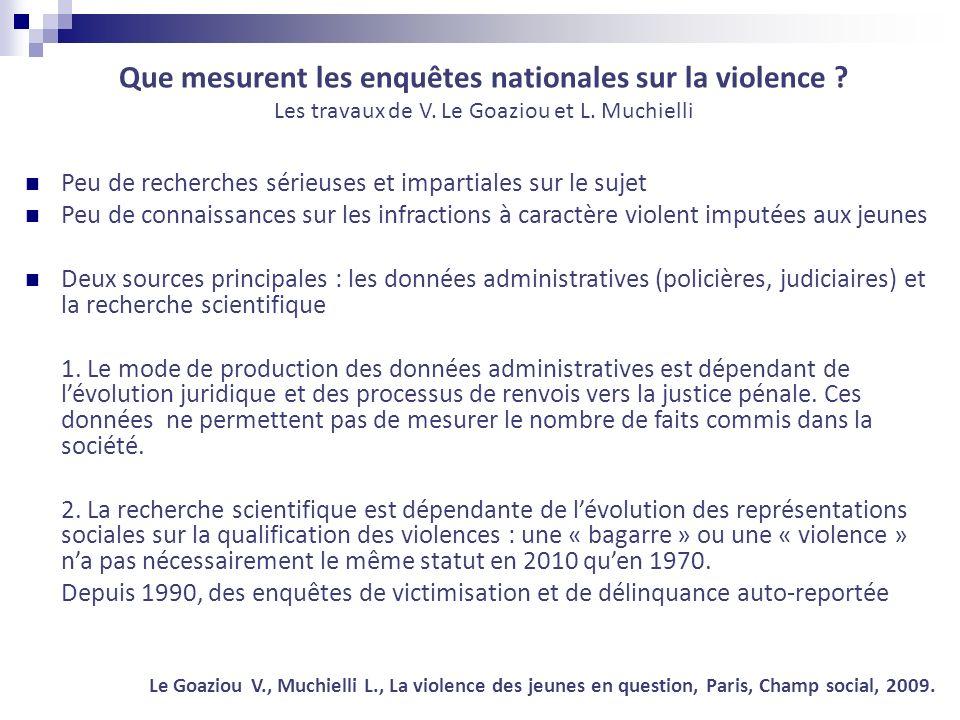 Que mesurent les enquêtes nationales sur la violence ? Les travaux de V. Le Goaziou et L. Muchielli Peu de recherches sérieuses et impartiales sur le