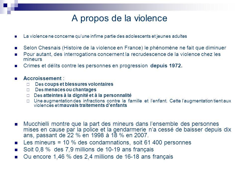 A propos de la violence La violence ne concerne quune infime partie des adolescents et jeunes adultes Selon Chesnais (Histoire de la violence en Franc