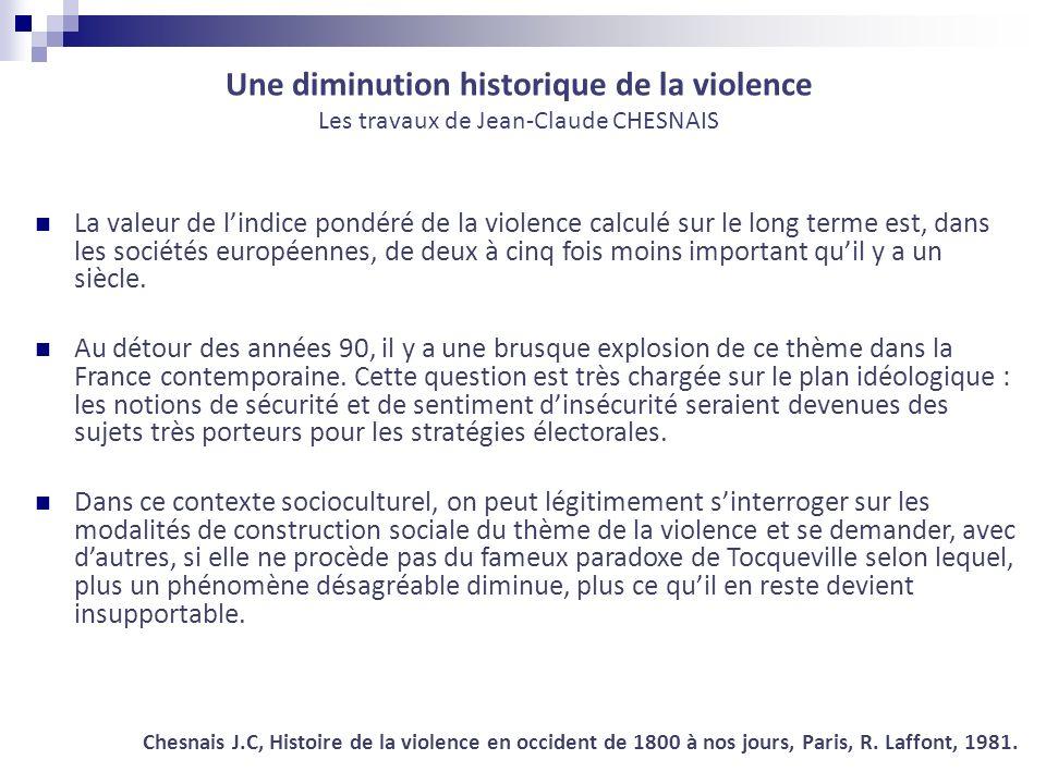 Une diminution historique de la violence Les travaux de Jean-Claude CHESNAIS La valeur de lindice pondéré de la violence calculé sur le long terme est