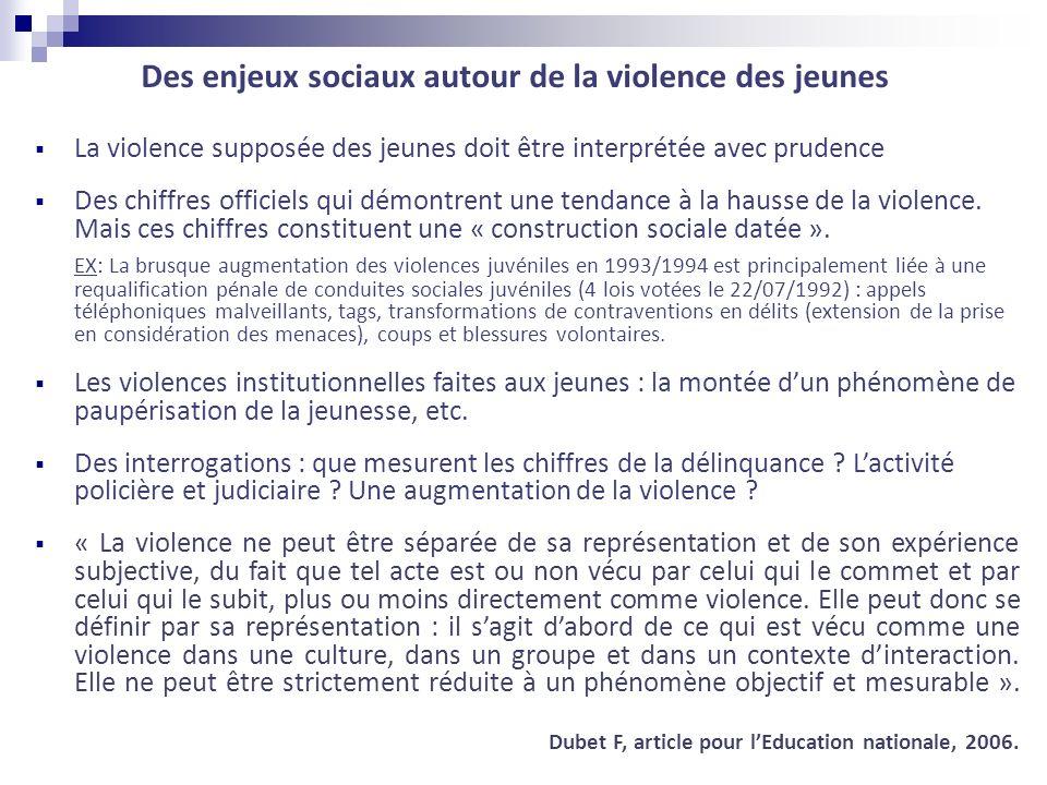 La violence supposée des jeunes doit être interprétée avec prudence Des chiffres officiels qui démontrent une tendance à la hausse de la violence. Mai