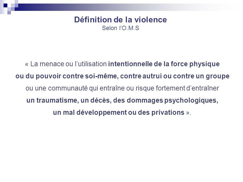 Définition de la violence Selon lO.M.S « La menace ou lutilisation intentionnelle de la force physique ou du pouvoir contre soi-même, contre autrui ou