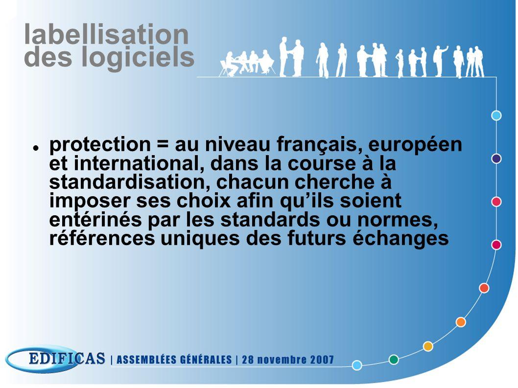 labellisation des logiciels protection = au niveau français, européen et international, dans la course à la standardisation, chacun cherche à imposer