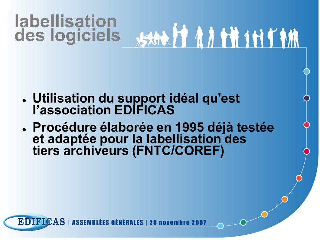 labellisation des logiciels Utilisation du support idéal qu'est lassociation EDIFICAS Procédure élaborée en 1995 déjà testée et adaptée pour la labell