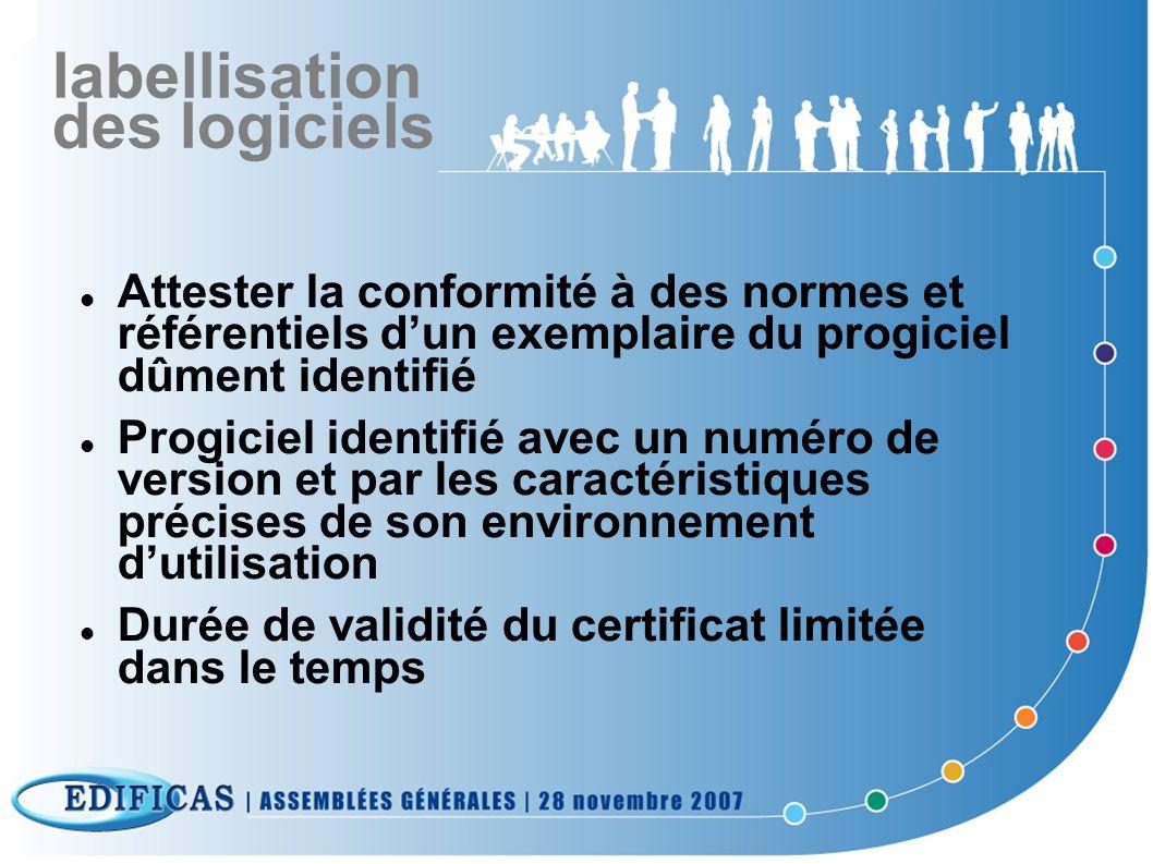 labellisation des logiciels Référentiel constitué par un règlement propre à chaque application : liste de normes ou référentiels décrivant les caractéristiques des progiciels spécifications permettant de vérifier ces caractéristiques règlement intérieur
