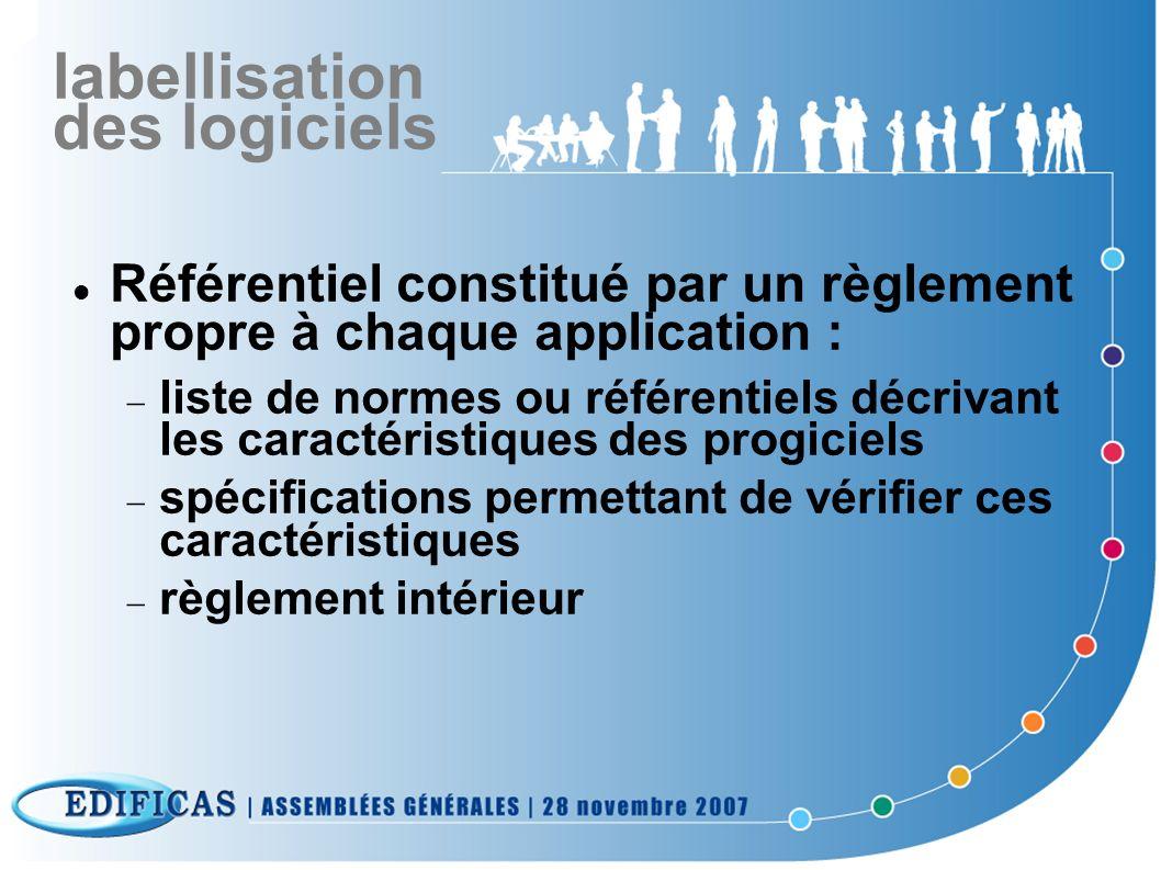 labellisation des logiciels Référentiel constitué par un règlement propre à chaque application : liste de normes ou référentiels décrivant les caracté